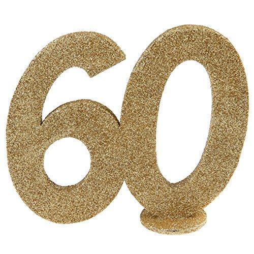 (XXL Tischdeko Zahl 60 Geburtstag Gold Glitzer 1 Stück Party-Deko Palandi®)