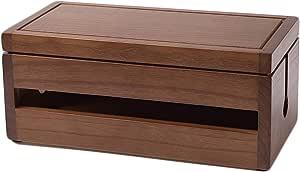 Insun Aufbewahrungsbox Für Kabel Und Steckdosenleiste Kabelbox Holz Handgemacht Kabelmanagement Box Kabel Organizer Dunkelbraun 29 1x14