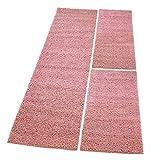 MyShop24h Shaggy Läufer Bettumrandung Hochflor-Teppich Pastellrosa Einfarbig Bettvorleger 3 teilig