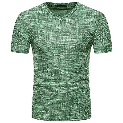 Maglietta da uomo,sonnena maschi estate colore puro manica corta da uomo top t-shirt uomo estate casuale soid hole v neck t-shirt pullover magliette manica corta uomo (l, verde)