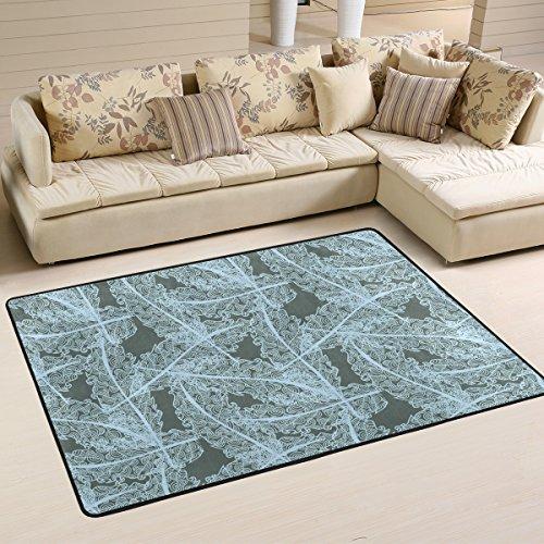 yibaihe leicht bedruckt Bereich Teppich Teppich Deko Zeitgenössische Aqua Blau und Weiß Floral wasserabweisend farbbeständige für Wohnzimmer Schlafzimmer, 183 x 122 cm -
