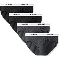 LAPASA 4 Pack Men's Quick Dry No Fly Cotton Briefs Ergonomic Bulge Pouch Flex Underwear M04
