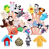 Pllieay 24 Pieces Finger Puppets Set Cloth Plush Doll Baby Educational Hand Cartoon Animal Toys with 15 Animals, 6 People Family Members, 2 Pieces House and 1 Piece Carrot