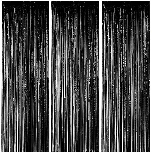 Paquete 3 cortinas flecos papel aluminio 3,28 pies