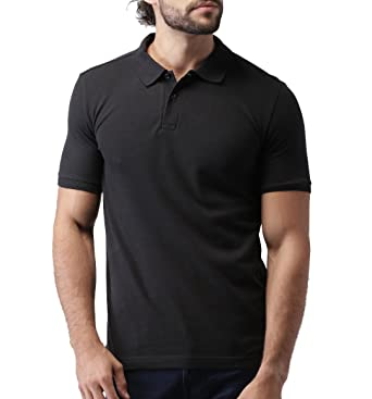 Fanideaz Men's Cotton Black Solid Plain Polo TShirt for Men ...