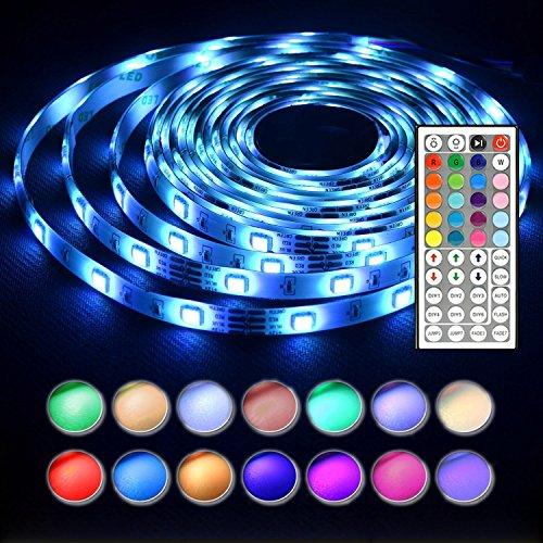 LED Stripes 5M 150 LEDs 5050 SMD LED Streifen RGB Komplettes Kit mit Fernbedienung und Netzteil (Die Luftfahrt Hat)