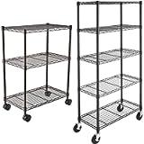 AmazonBasics 3-Shelf Shelving Unit on Wheels – Black & 5-Shelf Shelving Unit on 4'' Casters, Black