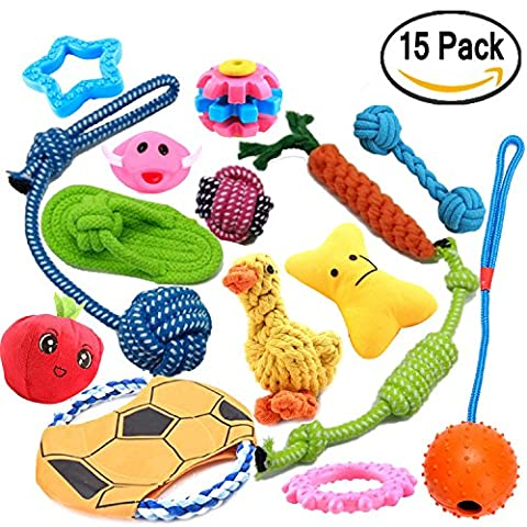 Dog Toys Lot de 15 Ensemble cadeau – Squeak Toys – Jouets – Cordes à mâcher Jouets – Flying Discs, etc.