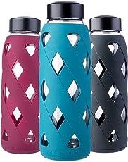 MIU COLOR 790ml Glas-Wasserflasche Trinkflasche mit Silikonhülle BPA-Frei Glasflashe für Büro, Wandern, Sport, Yoga