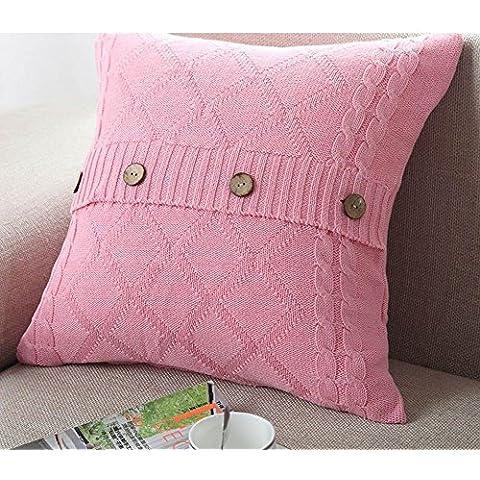 Più colore stile semplice divano cuscino/Tinta unita in cotone lavorato a maglia guanciale/semplice pulsante stile-E 45x45cm(18x18inch)VersionB