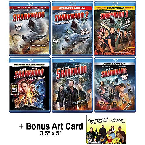 Sharknado: Complete Disaster Horror Comedy Film Franchise Blu-ray Collection - Movies 1-6 + Bonus Art Card