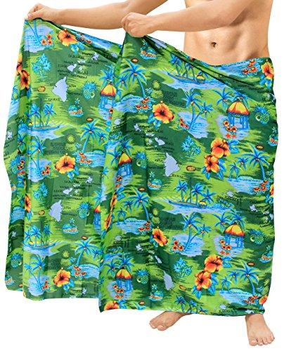 wickeln Mens Badeanzug-Vertuschungen Strand tragen Sarong Kleid Pareo Bad grün Schwimmen (Mutter Kleid Türkis Der Braut)