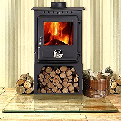 Lincsfire New Reepham 6.5KW Contemporary Woodburning Stove Multi Fuel Wood Burner Multifuel Fire Place with Log Store