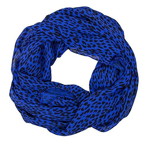 SCHLUSSVERKAUF: ManuMar Schal Leopardenmuster blau schwarz Schal Damen Schal Tuch Sommer Frühling Geschenk Freundin Damen