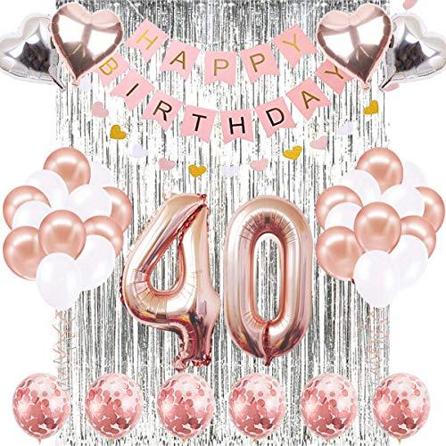 Decoraciones de Cumpleaños Número 40 Banner Globo Decoraciones de Cumpleaños Número 40 Artículos de Fiesta Regalos Para Mujeres Globos Número 40 de Oro Rosa, Globos de Confeti de Oro Rosa