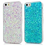 LANVY [2 Pack] Case for iPhone SE Case Glitter iPhone 5S