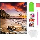 Wishstar Diamond Painting Atardecer y Playa, 5D Diamante Pintura Kits DIY, Cuadro de Diamantes Manualidades Decoración del Ho