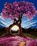 """CaptainCrafts New Malen nach Zahlen 16x20 """"für Erwachsene, Kinder Leinwand - Millennium Liebe, Lila exotische Bäume Blauer Himmel (Frameless)"""
