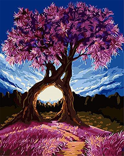 """CaptainCrafts Nouvelle peinture par numéros 16x20"""" pour les adultes, enfants toile - Arbre du millénaire, arbre d'amour violet (Sans cadre)"""