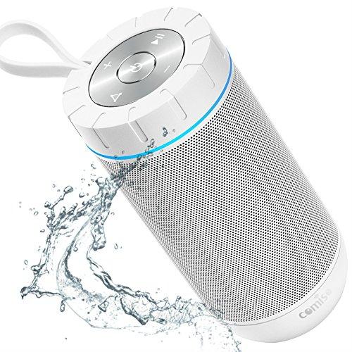 COMISO Bluetooth Lautsprecher Genießen Sie laut 360°Surround Sound, Lauteste 12W Portable Stereo, Wasserdicht, Beste Bass Funklautsprecher mit 36 Stunden Spielzeit und Mikrofon (Weiß)