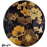 Decornt Green Paris Leafy-Design Dinner Plates; Made Of Food-Grade Melamine Material; Round Shape; Diameter 11 Inches; Set Of 4; Mix Colour Black Plate