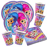 52-teiliges Party-Set Shimmer und Shine - Teller Becher Servietten für 16 Kinder