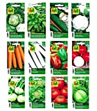 Gemüsesamen Saatgut für 12 Sorten - Set für Tomate Gurke Radieschen Karotte Eissalat Feldsalat Kopfsalat Paprika Kohlrabi Porree Weißkohl Blumenkohl - Sortiment für Anzucht von Gemüse im Garten-Beet und Balkon mit Samen