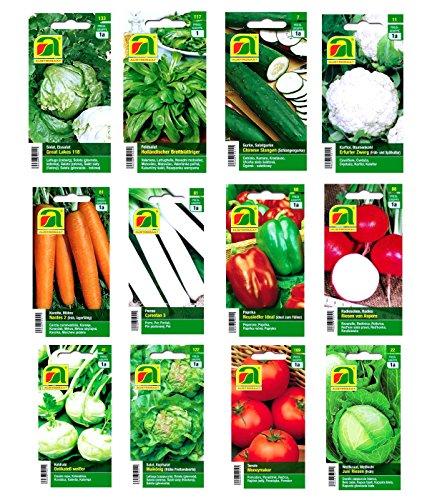 Premium Gemüsesamen Sortiment - 12 Sorten - über 14000 Samen - komplettes Starterset - robuste Mischung - Ziehen Sie sich einfach ihr eigenes Gemüse zuhause selbst mit unserem ausgewählten Qualitätssaatgut