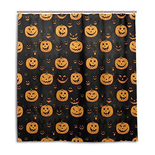 jstel Decor Vorhang für die Dusche Halloween Kürbis Scary Face Muster Print 100% Polyester Stoff 167,6x 182,9cm für Home Badezimmer Deko Dusche Bad Vorhänge mit Kunststoff Haken