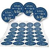 48 Aufkleber blau dunkelblau SCHÖN DASS DU DA BIST 4 cm Geschenkaufkleber Etiketten Sticker - Hochzeit Taufe Kommunion Geburtstag Gastgeschenk give-away Deko Fest Verpackung Mitgebsel