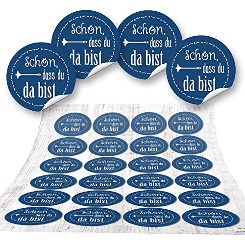 96 Aufkleber blau dunkelblau SCHÖN DASS DU DA BIST 4 cm Geschenkaufkleber Etiketten Sticker - Hochzeit Taufe Kommunion Geburtstag Gastgeschenk give-away Deko Fest Verpackung Mitgebsel