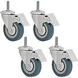eyepower 4x Transportwiel 75mm met Draadstift (M10) - Zwenkwiel 360° draaibaar Remsteunwiel Nylon Wiel