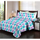Bombay Dyeing Breeze Cyan And Purple Designer Leaf Print Cotton 140 TC Double Bed Sheet With Two Pillow Covers