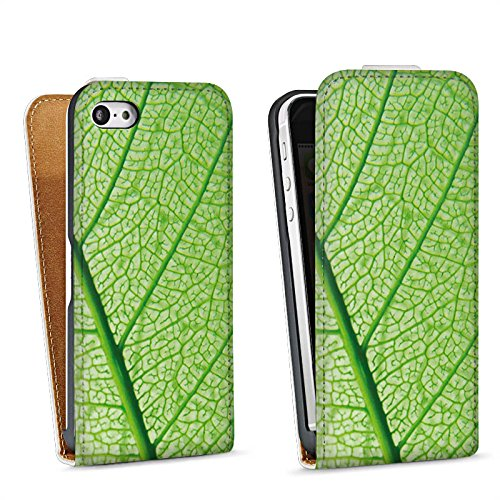 Apple iPhone 5s Housse Étui Protection Coque Feuille Plante Vert Sac Downflip blanc