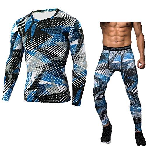 Uomo Sportivo Abbigliamento Magliette A Maniche Lunghe Fitness Jogging Pantaloni Compressione Style 5