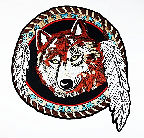 rabana XXL Lone Wolf Fox indischen 12 Sternzeichen Motorrad Biker Club Patch für Heimwerker Bone Ghost Hog Outlaw Hot Rod Motorräder Rider Lady Biker Jacket T Shirt Patch Sew Iron on gesticktes Badge Schild Kostüm (Indische Kostüme Diy)