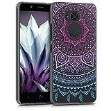 kwmobile Funda para bq Aquaris U2 / U2 Lite - Carcasa de [TPU] para móvil y diseño de Sol hindú en [Azul Rosa Fucsia Transparente]
