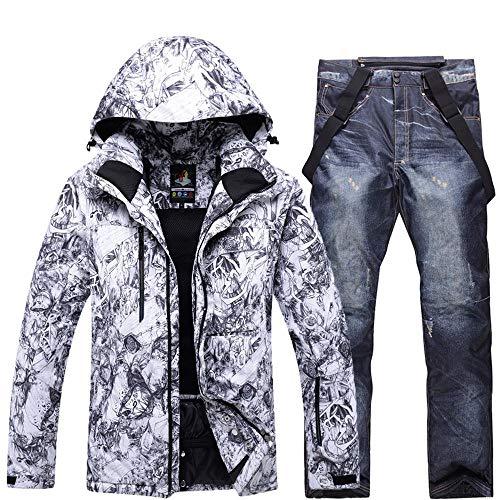 Tuta da Sci da Uomo Impermeabile Antivento Abbigliamento da Snowboard Set Inverno All'aperto Calze Addensanti Calde + Pantaloni White-XXL/3XL