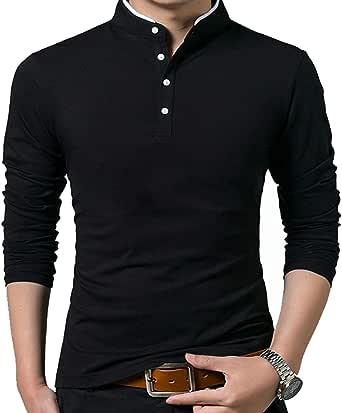 VANVENE Men's Casual Regular Fit Long Sleeve Plain Polo T-Shirts - S to 2XL FBA