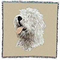 Pure Country 2554-LS Old English Sheepdog Pet Blanket, Canine on Beige Background, 54 by 54-Inch