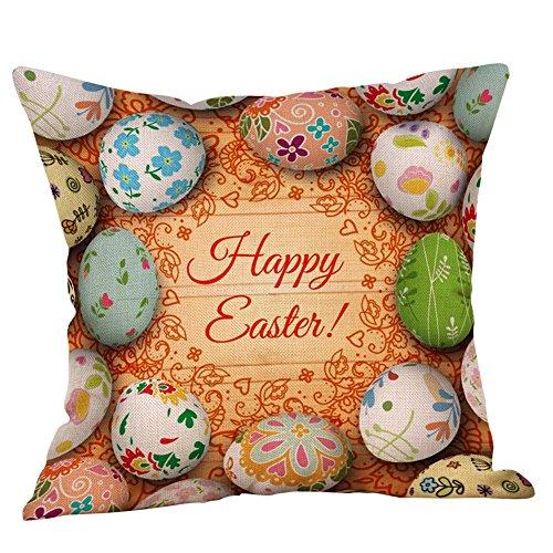 JMETRIC_Kissenbezug Ostern 16 Stile zur Auswahl 45×45 Quadrat Kopfkissenbezug Kaninchen Hahn Muster Dekoration (F)