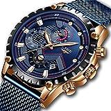 LIGE Reloj Hombre Impermeable Deporte Cronógrafo Fecha Malla Acero Inoxidable Azul Reloj de Pulsera Relojes analógicos de Negocios para Hombres