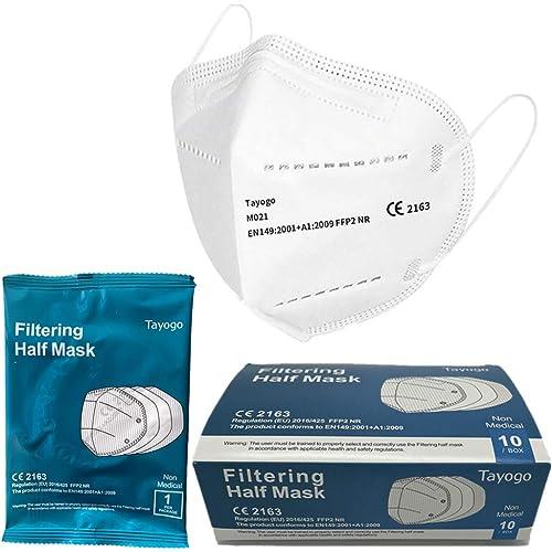 Maschere FFP2, maschere usa e getta con paraorecchie, 96% di filtraggio multistrato, maschere KN95, taglia unica, confezione da 10