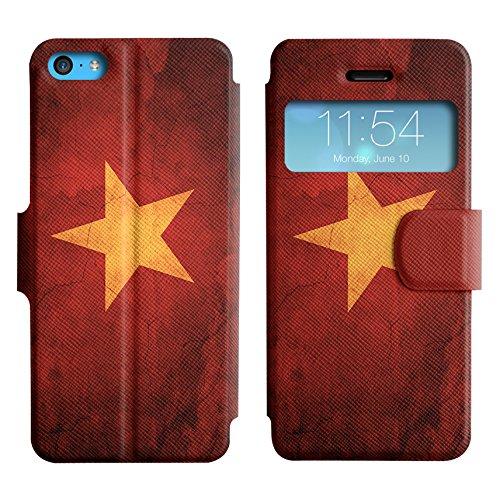 Graphic4You Vintage Uralt Flagge Von Hong Kong Flag Design Leder Schützende Display-Klappe Brieftasche Hülle Case Tasche Schutzhülle für Apple iPhone 5C Vietnam Vietnamesisch