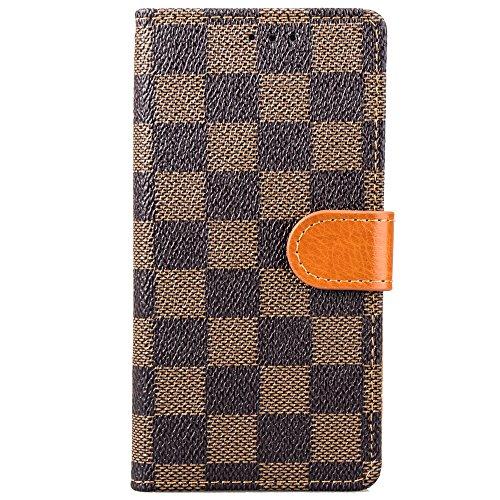 iPhone 8Fall Portemonnaie Grid Checker Kunstleder Fashion Designer Magnet Flip Case Skin Cover Ständer mit Karte Halter für iPhone 7iPhone 8(braun) Louis Vuitton Iphone Fällen