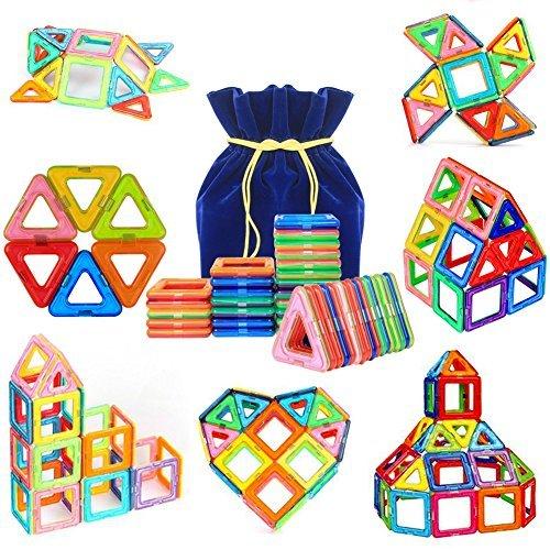 40 Pcs Magnetische Bauklötze Set,PONCTUEL ESCARGO Pädagogische Bausteine Magnetspielzeug,Konstruktion Blöcke, Weihnachtsgeschenk Lernspielzeug für Kinder über 3 Jahre mit Samtsack