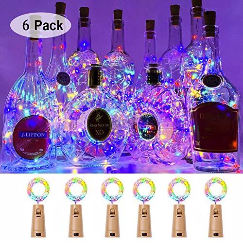 Fcloud 6er Pack Weinflasche Lichter, 15 LED wasserdichte Lichterketten für Hochzeit Weihnachten, Outdoor, Garten, Dekor, bunt