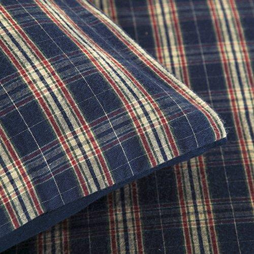 Highland Woven Tartan Check 180GSM 100% Brushed Cotton Flannel Flannelette Duvet Cover Bedding Set (Navy Dark Blue, Super King Duvet Cover Set)