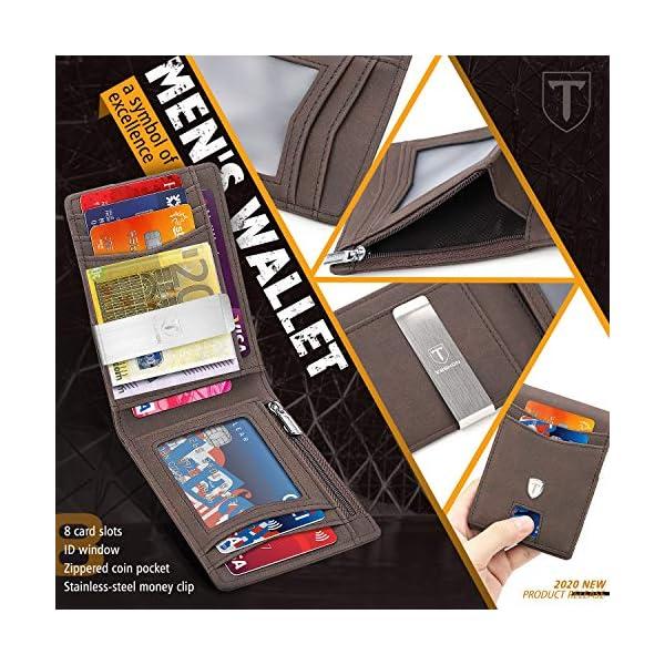TEEHON® Portafoglio Uomo slim Pelle Blocco RFID con Fermasoldi, Piccolo Portafogli con Asca Per Monete, 9 Porta Carte di… 4 spesavip