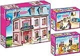 PLAYMOBIL® Dollhouse 3er Set 5303 5308 5336 Romantisches Puppenhaus + Wohnzimmer mit Kaminofen + Einbauküche mit Sitzecke
